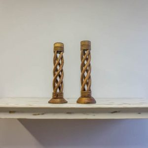 $3 Woven Wooden Candle Stands