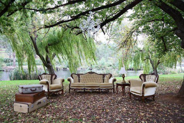 $350 Golden Vintage Lounge Set 3 Piece