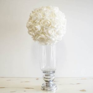 $40 Vase with White Rose Ball